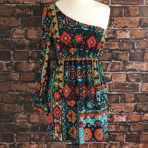 Anthropologie Judith March One Shoulder Boho Dress